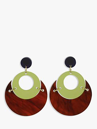 Toolally Moonlight Drop Earrings, Tortoise/Sage