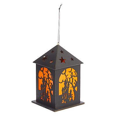 Image of John Lewis & Partners Halloween LED Paper House Hanging Decoration, Black