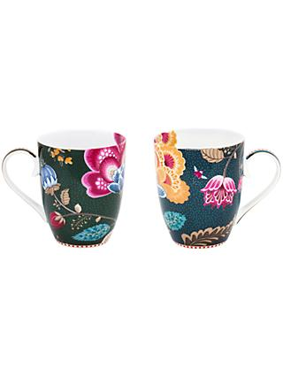 PiP Studio Floral Fantasy Porcelain Large Mugs, Set of 2, 350ml, Assorted
