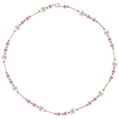 A B Davis 9ct Gold Freshwater Pearls Bar Necklace, Pink/White