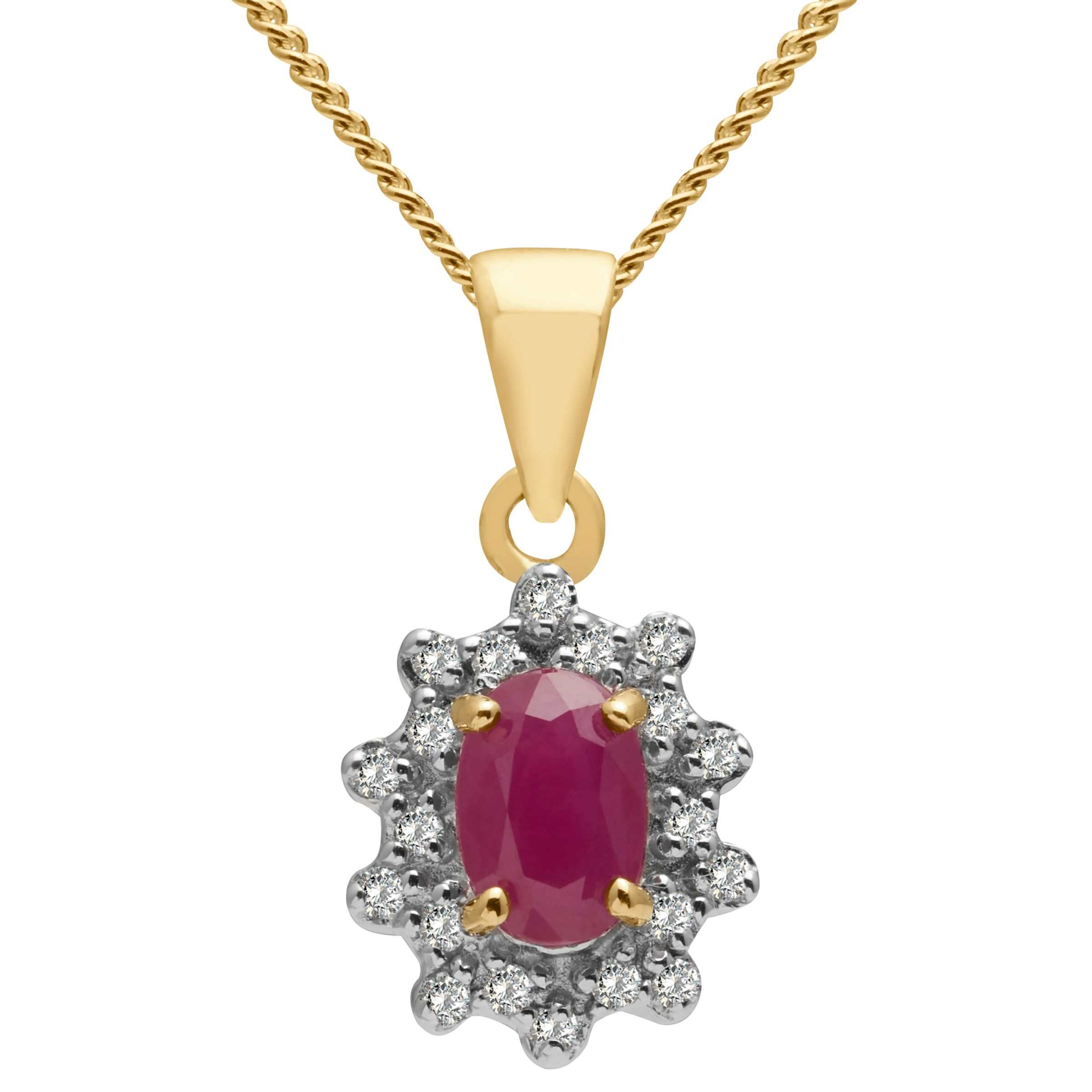 Ruby Wedding Gifts John Lewis: A B Davis 9ct Gold Oval Precious Stone And Diamond Cluster