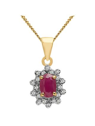 A B Davis 9ct Gold Oval Precious Stone and Diamond Cluster Pendant Necklace