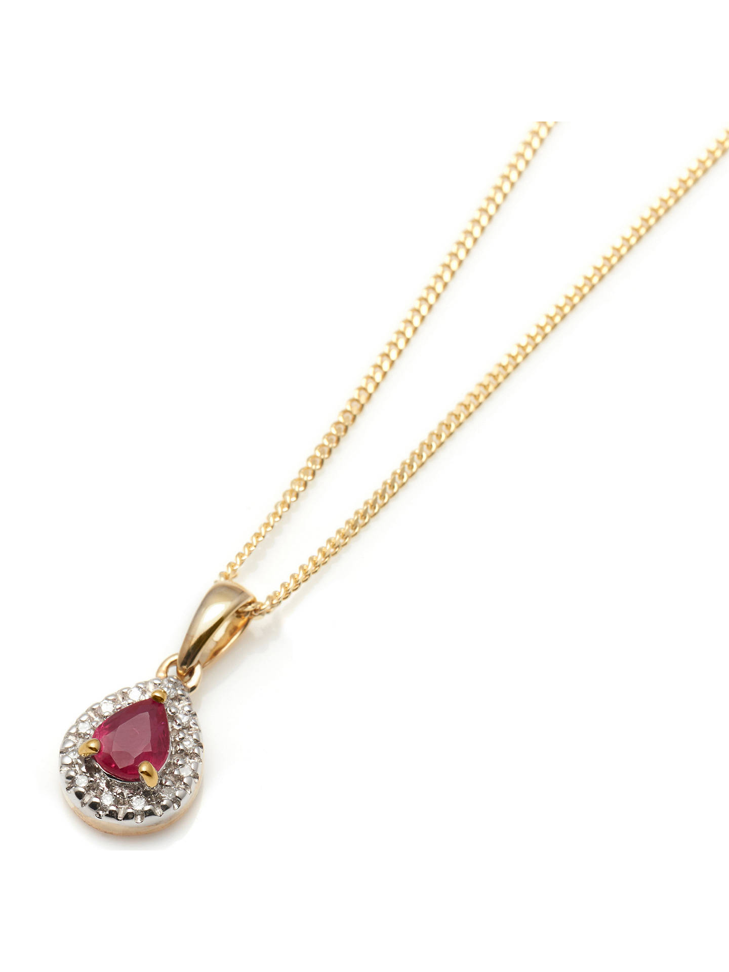 BuyA B Davis 9ct Gold Precious Stone and Diamond Teardrop Pendant Necklace, Yellow Gold/Ruby Online at johnlewis.com