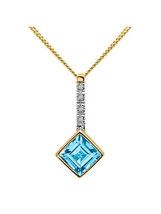 A B Davis 9ct Gold Princess Cut Semi Precious Stone and Diamond Pendant Necklace, Blue Topaz