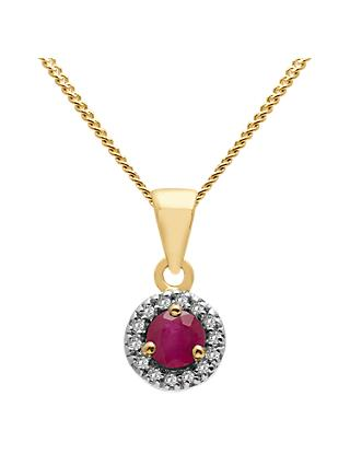A B Davis 9ct Gold Precious Stone and Diamond Round Pendant Necklace