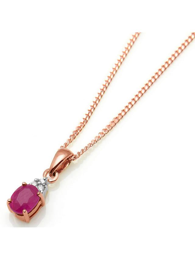 A B Davis 9ct Gold Precious Stone and Diamond Oval Pendant ...