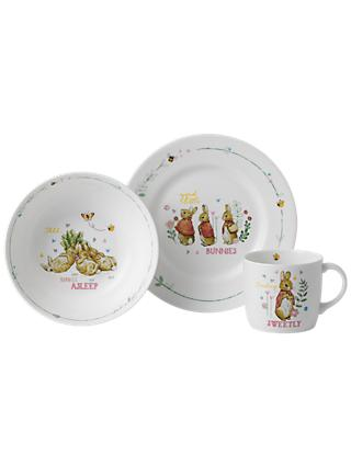 Beatrix Potter Peter Rabbit Flopsy Mopsy and Cotton Tail Wedgwood 3 Piece Nursery Set