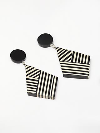 One Button Stripe Geometric Drop Earrings, Black/White
