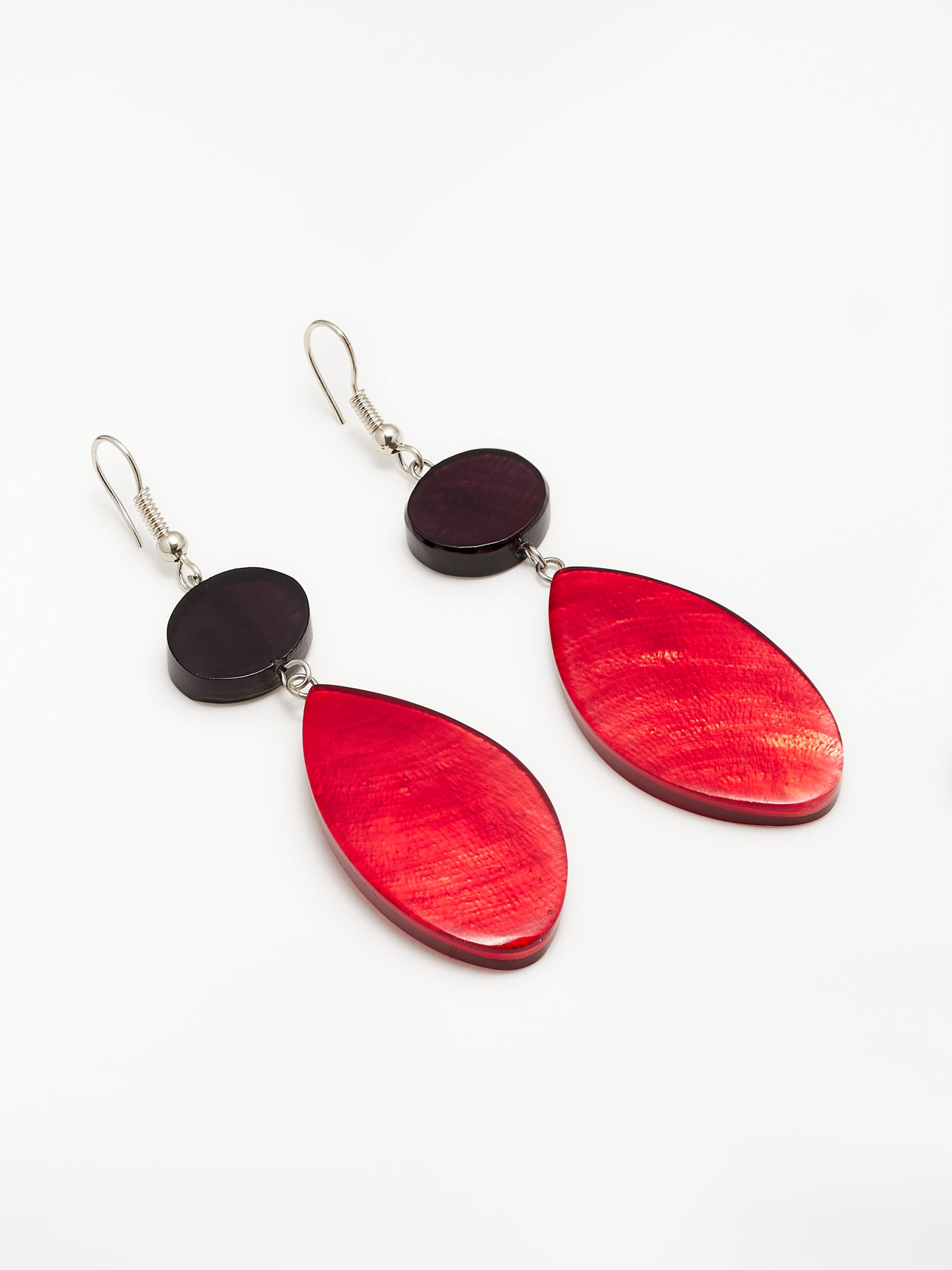 One Button One Button Capiz Shell Oval Drop Hook Earrings, Red/Black