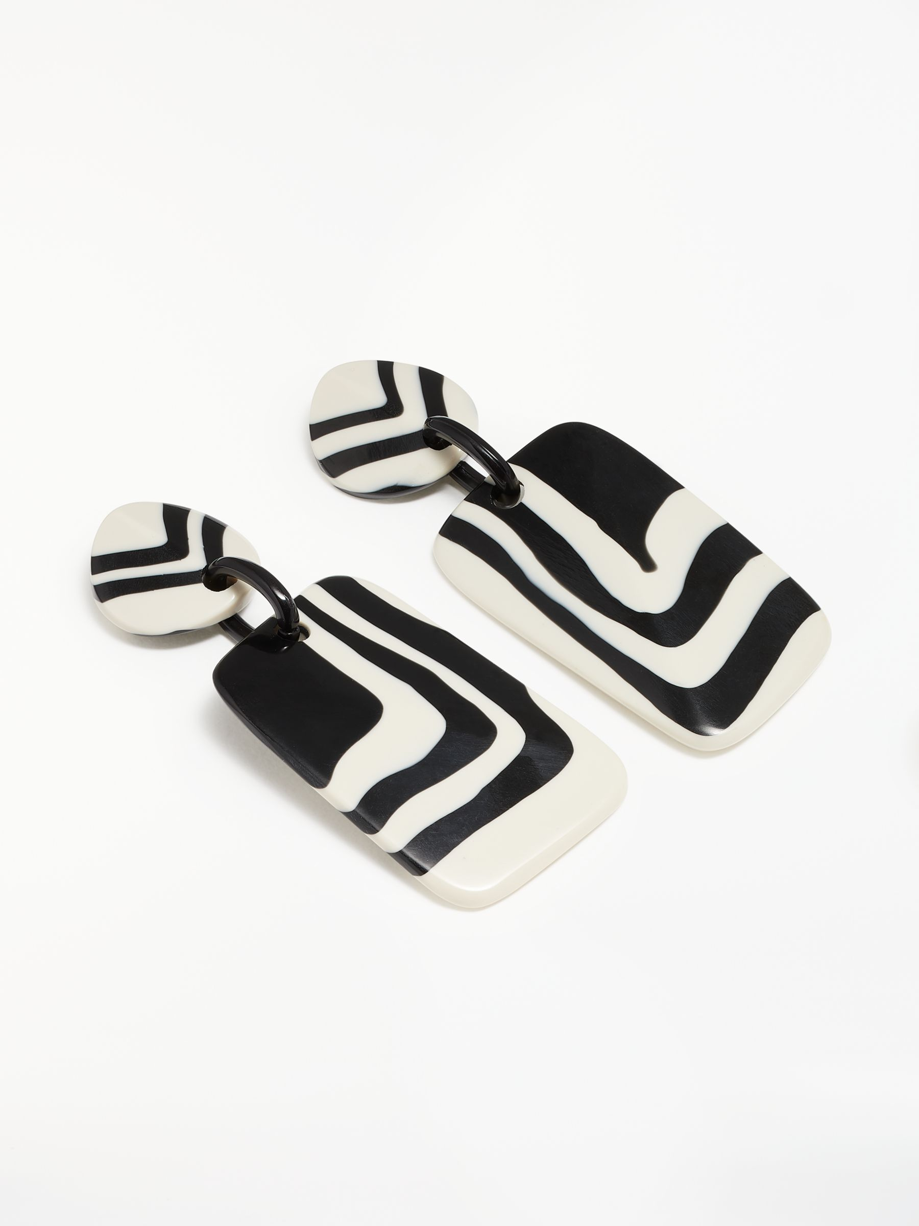 One Button One Button Stripe Circle and Rectangle Drop Earrings, Black/White