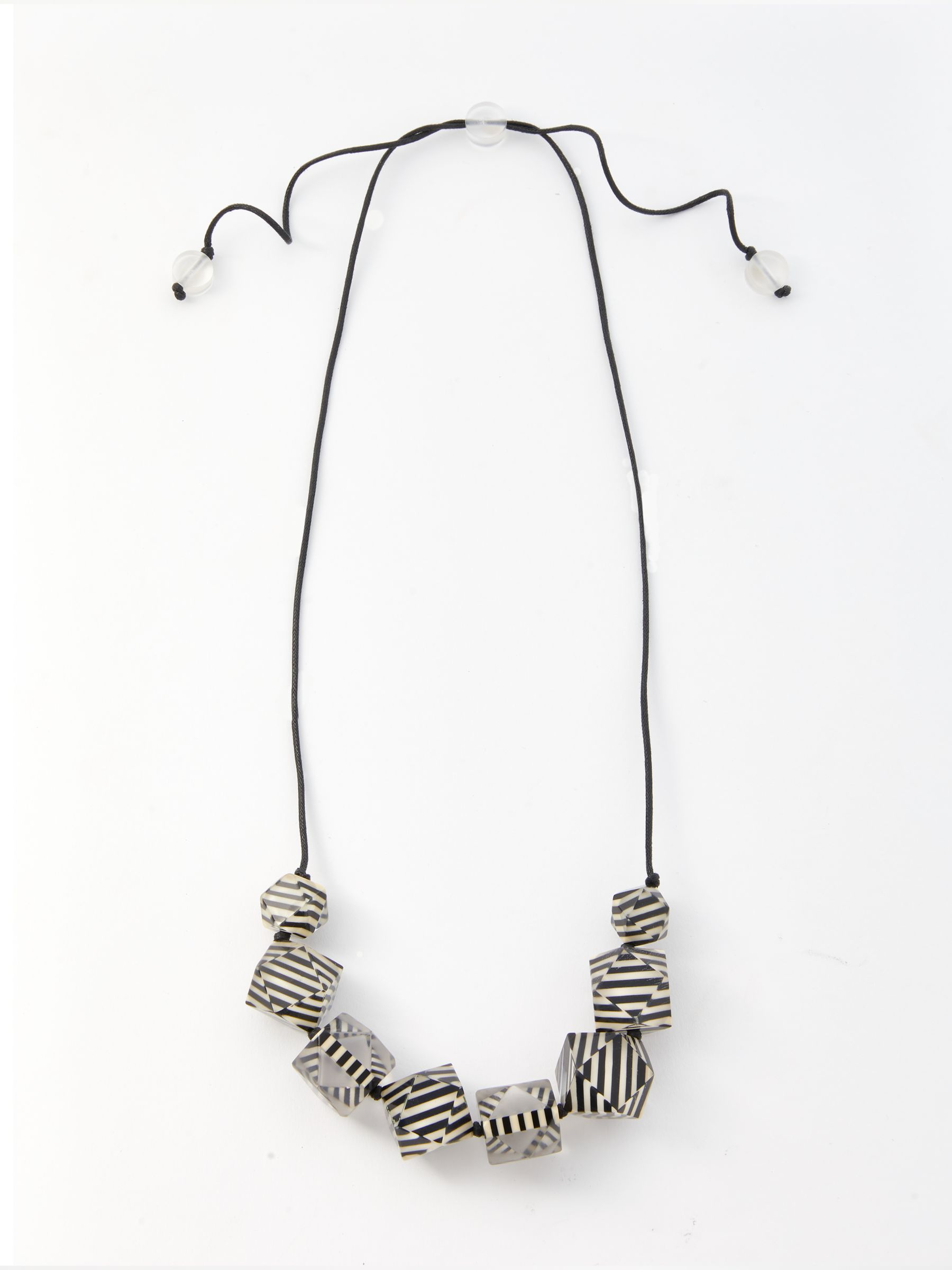 One Button One Button Clear Stripe Abstract Bead Statement Necklace, Black/White