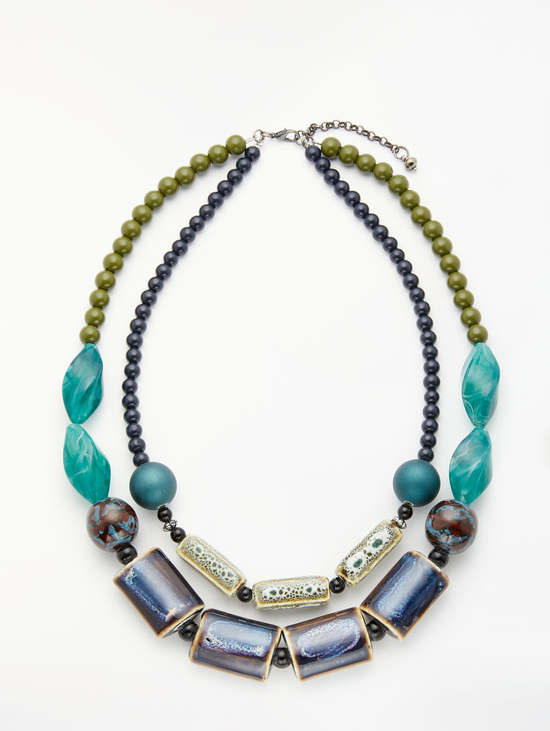 One Button One Button Double Row Ceramic Beaded Necklace, Blue