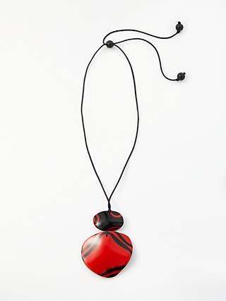 One Button Large Reversible Cord Pendant Necklace, Red/Black