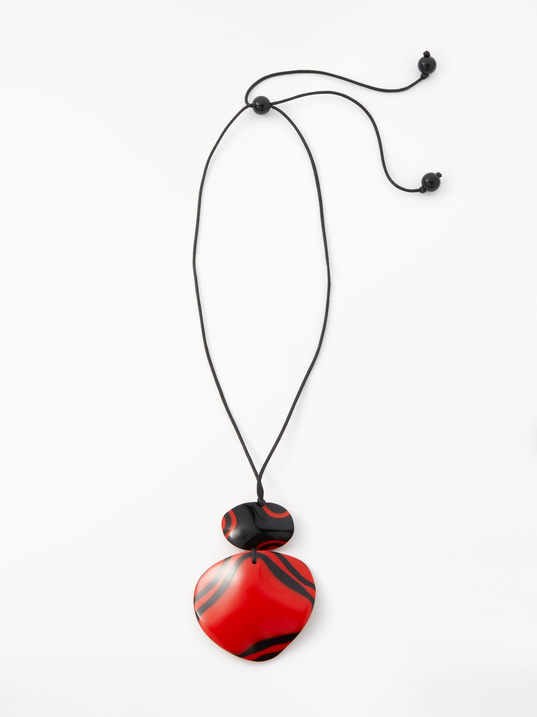One Button One Button Large Reversible Cord Pendant Necklace, Red/Black