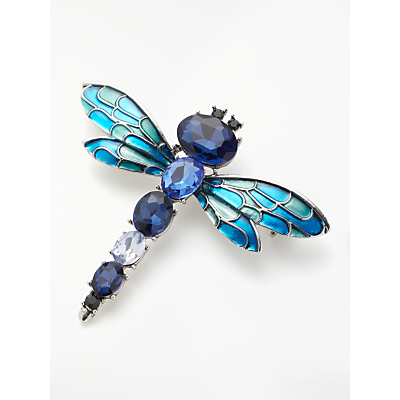 One Button Faceted Glass Dragonfly Brooch, Blue