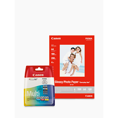 Image of Canon CLI-526 Colour Inkjet Cartridge Multipack with Canon GP-501 Glossy Photo Paper, 10 x 15cm, 10 Sheets