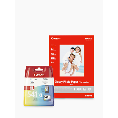 Image of Canon CL-541XL Tri-Colour Ink Cartridge with Canon GP-501 Glossy Photo Paper, 10 x 15cm, 10 Sheets