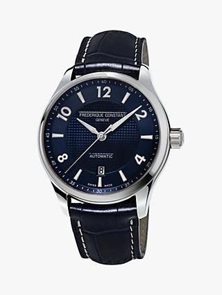 Frédérique Constant FC-303RMN5B6 Men's Runabout Automatic Date Leather Strap Watch, Navy