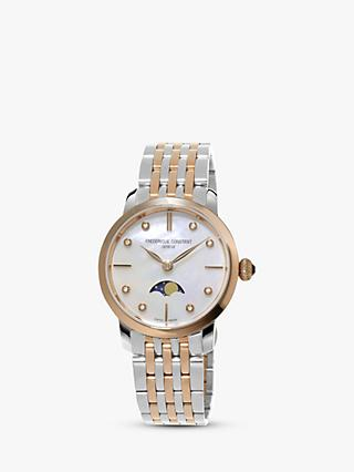 Frederique Constant FC-206MPWD1S2B Women's Moonphase Diamond Two Tone Bracelet Strap Watch, Silver/Rose Gold