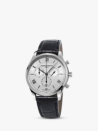 Frédérique Constant FC-292MS5B6 Men's Classics Chronograph Date Leather Strap Watch, Black/Silver