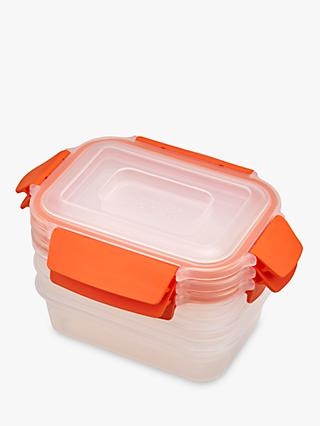 Joseph Joseph Nest Lock Airtight Storage Containers, 540ml, Set of 3, Clear/Orange