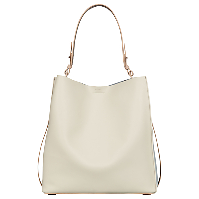 AllSaints Paradise Leather North South Tote Bag, Lamb White