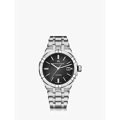 Image of Maurice Lacroix AI6008-SS002-330-1 Men's Aikon Automatic Date Bracelet Strap Watch, Silver/Black