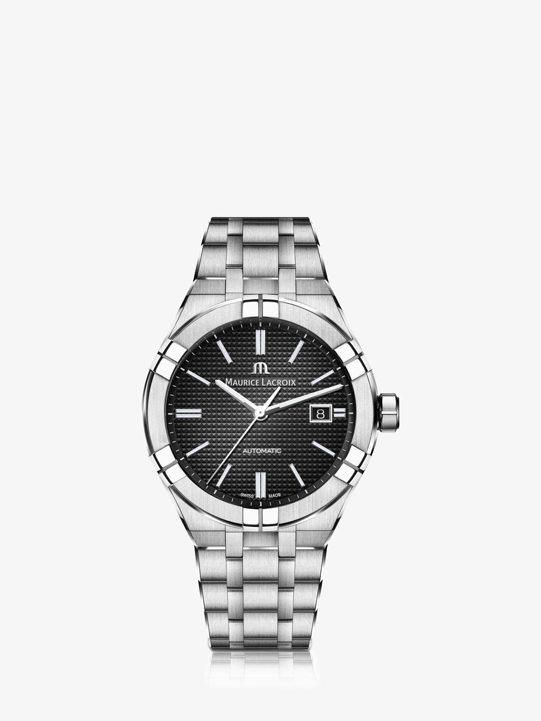 Maurice Lacroix Maurice Lacroix AI6008-SS002-330-1 Men's Aikon Automatic Date Bracelet Strap Watch, Silver/Black