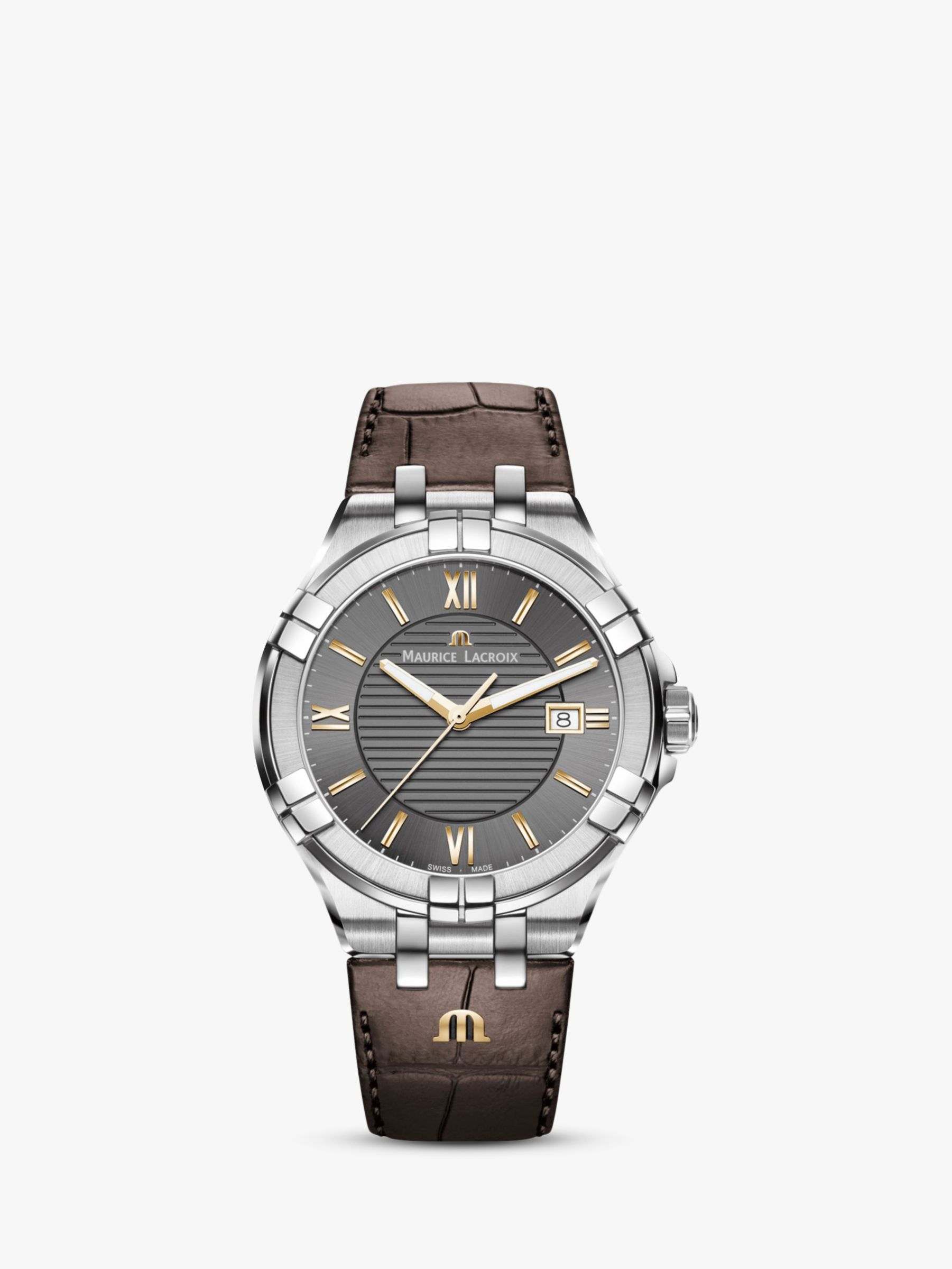 Maurice Lacroix Maurice Lacroix AI1008-SS001-333-1 Men's Aikon Date Leather Strap Watch, Brown/Dark Grey