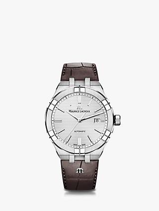 Maurice Lacroix AI1008-SS001-130-1 Men's Aikon Date Leather Strap Watch, Brown/Silver