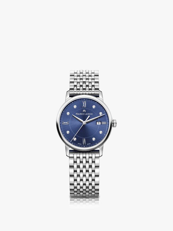 Maurice Lacroix Maurice Lacroix EL1094-SS002-450-1 Women's Eliros Diamond Date Bracelet Strap Watch, Silver/Blue