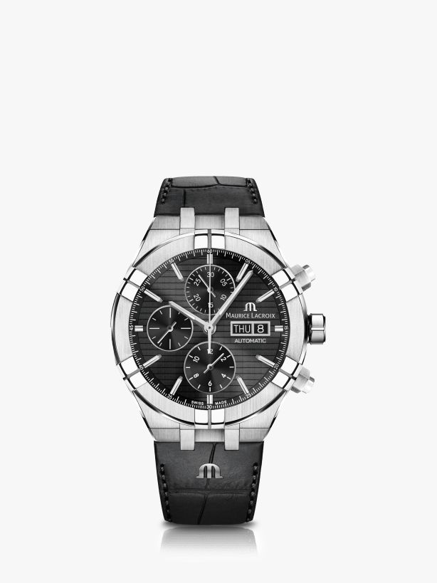 Maurice Lacroix Maurice Lacroix AI6038-SS001-330-1 Men's Aikon Automatic Chronograph Day Date Leather Strap Watch, Black