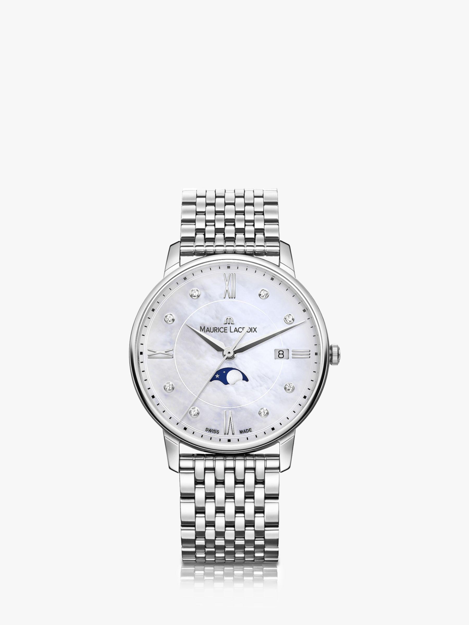 Maurice Lacroix Maurice Lacroix EL1096-SS002-170-1 Women's Eliros Moonphase Diamond Date Bracelet Strap Watch, Silver/Mother of Pearl