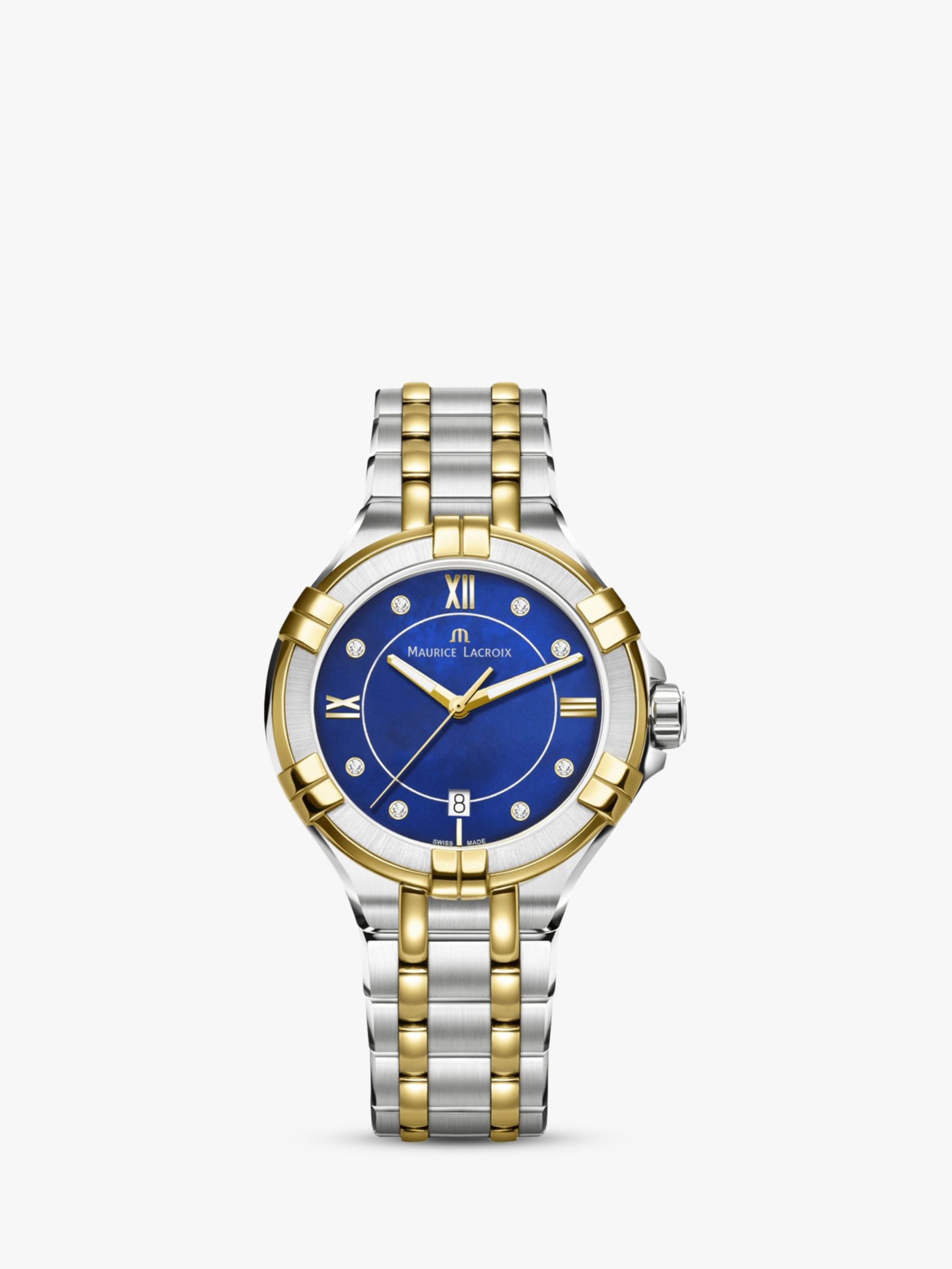Maurice Lacroix Maurice Lacroix AI1006-PVY13-470-1 Women's Aikon Diamond Two Tone Bracelet Strap Watch, Silver/Gold