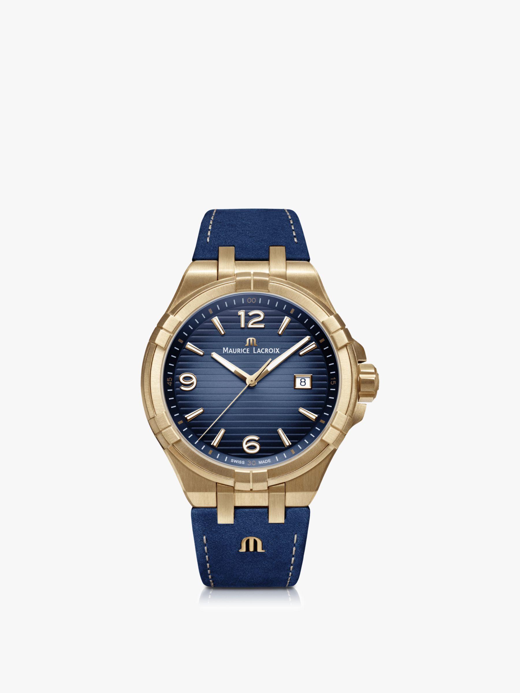 Maurice Lacroix Maurice Lacroix AI1028-BRZ01-420-1 Men's Aikon Date Leather Strap Watch, Blue