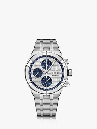 Maurice Lacroix AI6038-SS002-131-1 Men's Aikon Automatic Chronograph Day Date Bracelet Strap Watch, Silver