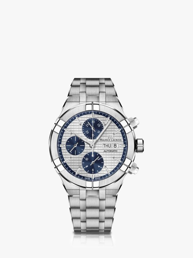 Maurice Lacroix Maurice Lacroix AI6038-SS002-131-1 Men's Aikon Automatic Chronograph Day Date Bracelet Strap Watch, Silver
