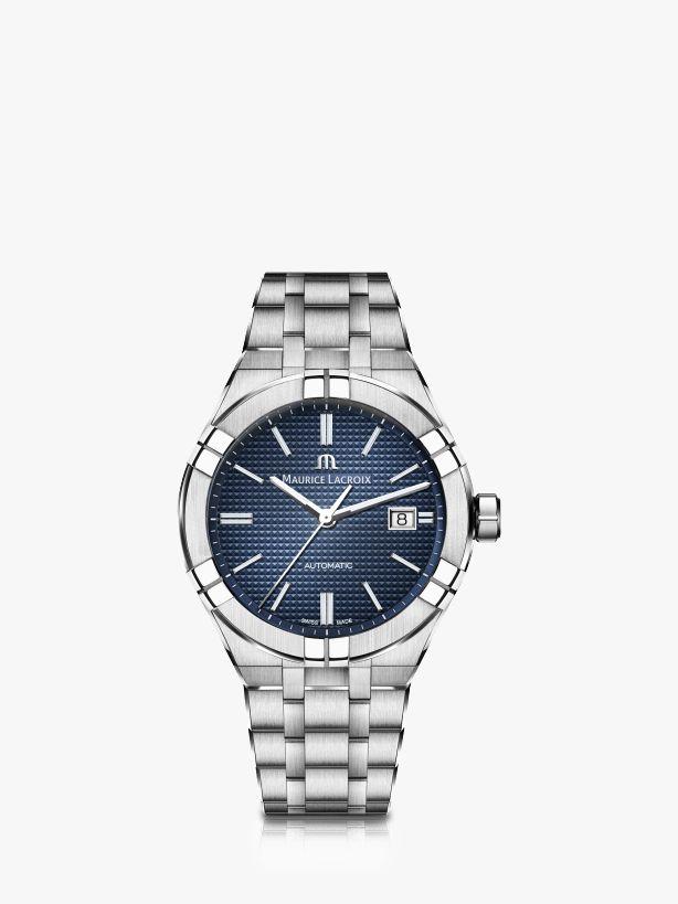 Maurice Lacroix Maurice Lacroix AI6008-SS002-430-1 Men's Aikon Automatic Date Bracelet Strap Watch, Silver/Blue