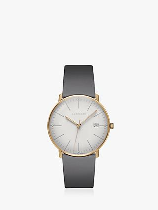 Junghans 041/7857.00 Unisex Max Bill Date Leather Strap Watch, Grey