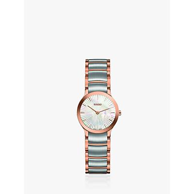 Rado R30186923 Women's Centrix Two Tone Bracelet Strap Watch, Silver/Rose Gold