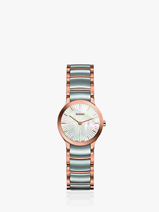 Rado R30186923 Women's Centrix Two Tone Bracelet Strap Watch, Silver/Rose Gold