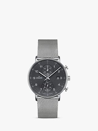 Junghans 041/4877.44 Unisex Form Chronoscope Bracelet Strap Watch, Silver/Grey