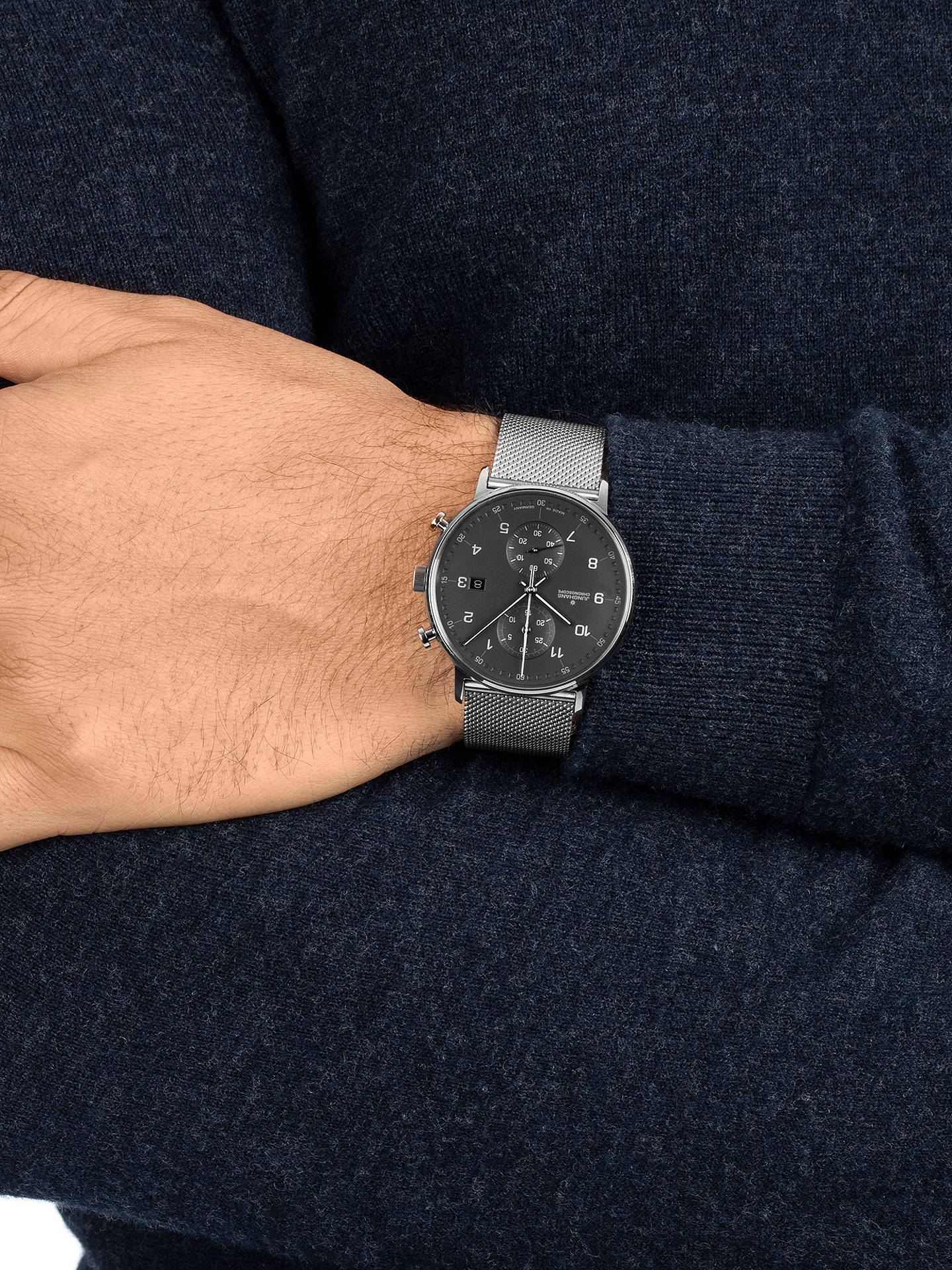 BuyJunghans 041/4877.44 Unisex Form Chronoscope Bracelet Strap Watch, Silver/Grey Online at johnlewis.com