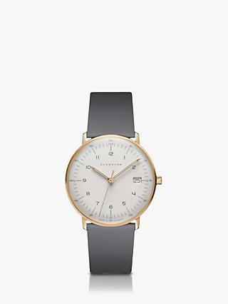 Junghans 047/7854.00 Women's Max Bill Date Leather Strap Watch, Grey