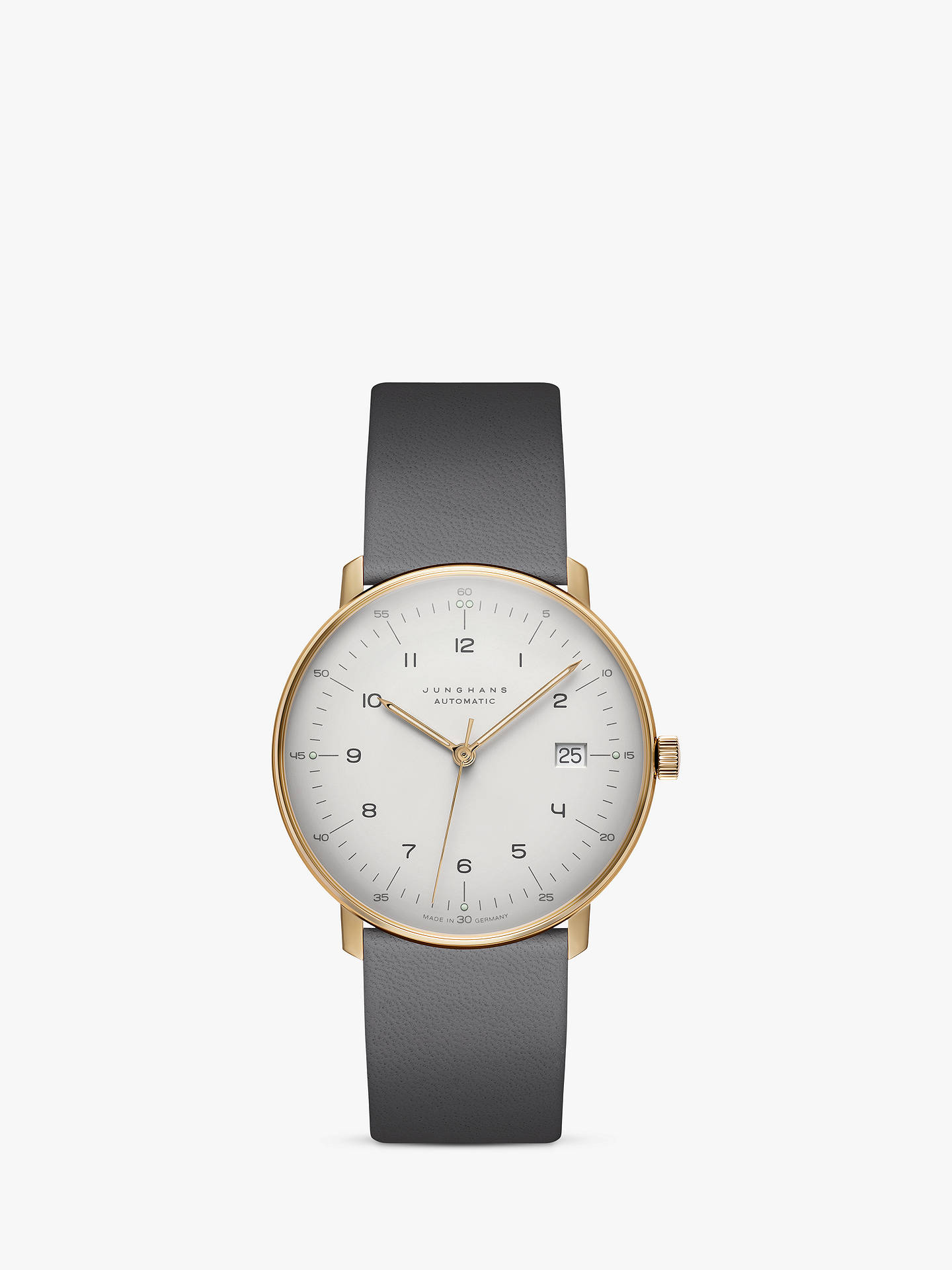 BuyJunghans 027/7806.00 Unisex Max Bill Automatic Date Leather Strap Watch, Grey/White Online at johnlewis.com
