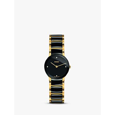 Rado R30189712 Women's Centrix Diamond Bi-Material Bracelet Strap Watch, Gold/Black