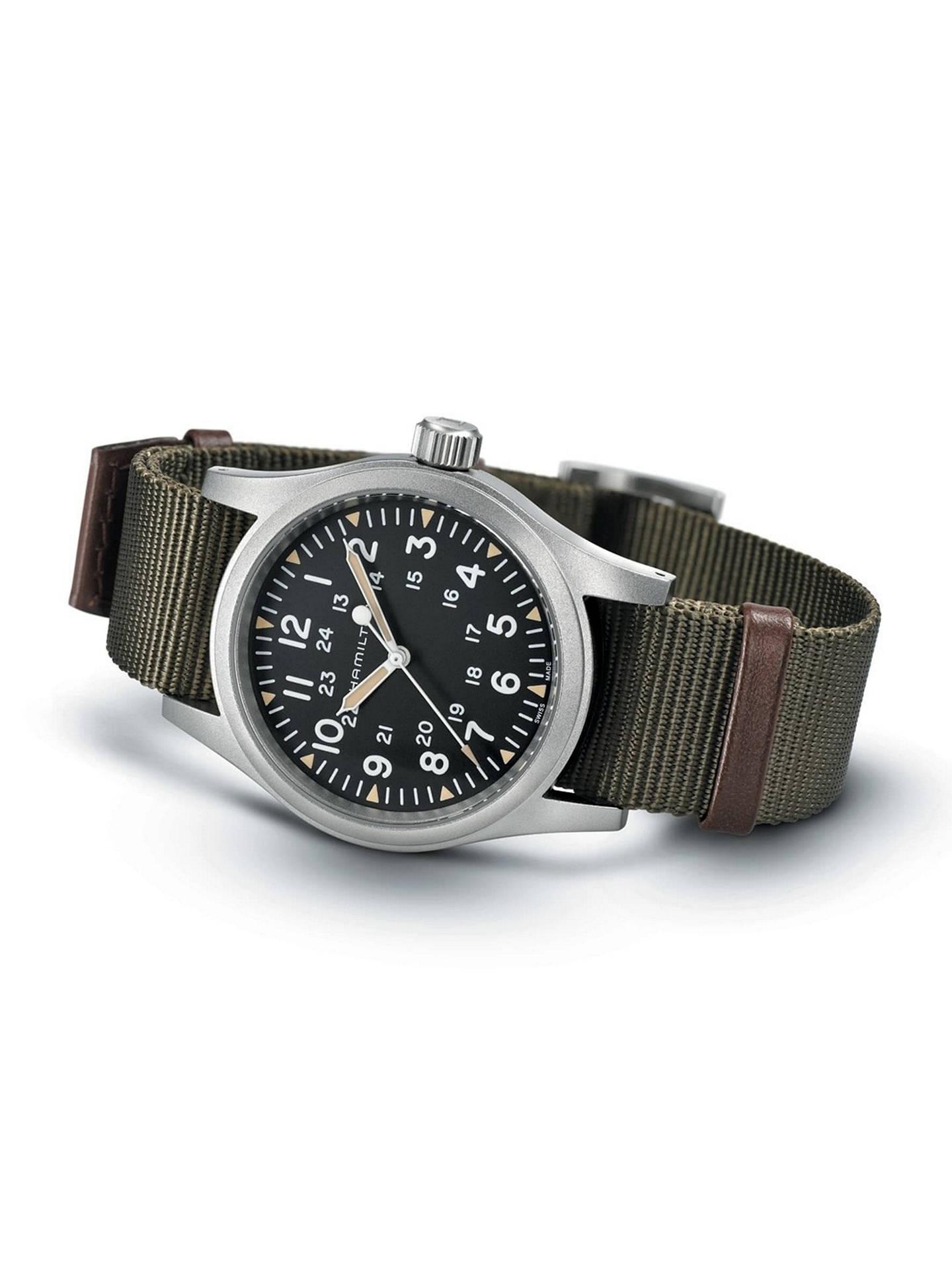 Hamilton H69439931 Men S Khaki Field Automatic Date Nato Fabric Strap Watch Green Black