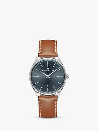 Hamilton H38525541 Men's Jazzmaster Thinline Automatic Date Leather Strap Watch, Tan/Blue