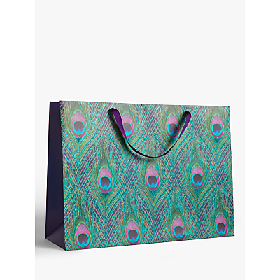 Image of John Lewis & Partners Peacock Feather Flitter Gift Bag