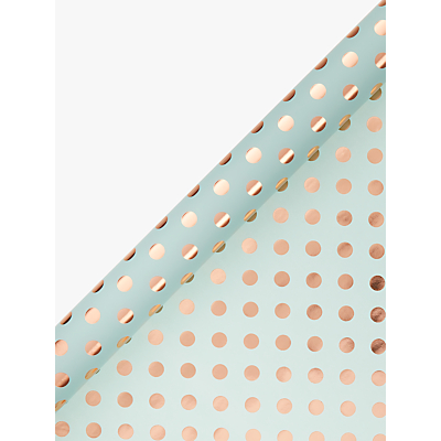 Image of John Lewis & Partners Spot Gift Wrap, 3m, Mint/Rose Gold